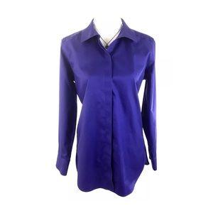 CHICOS Purple No Iron Button Down Shirt